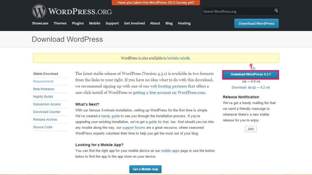 WordPress lejupielāde