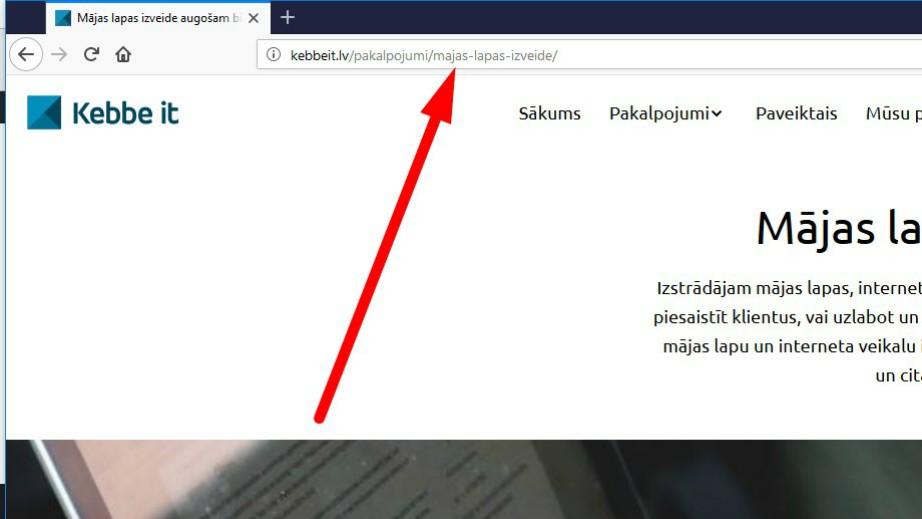 Atvēruma saitē (URL) jāievieto atslēgvārdi