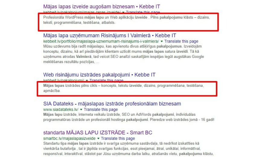 Meta apraksts (meta description) ir neliels teksts, kas redzams Google meklēšanas rezultātos pēc atslēgvārdu ievadīšanās meklētājprogrammā.