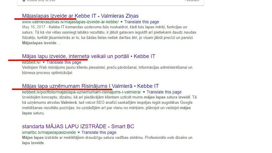 """""""Title tag"""" ir HTML elements, kas atspoguļo mājaslapas atvēruma virsrakstu"""