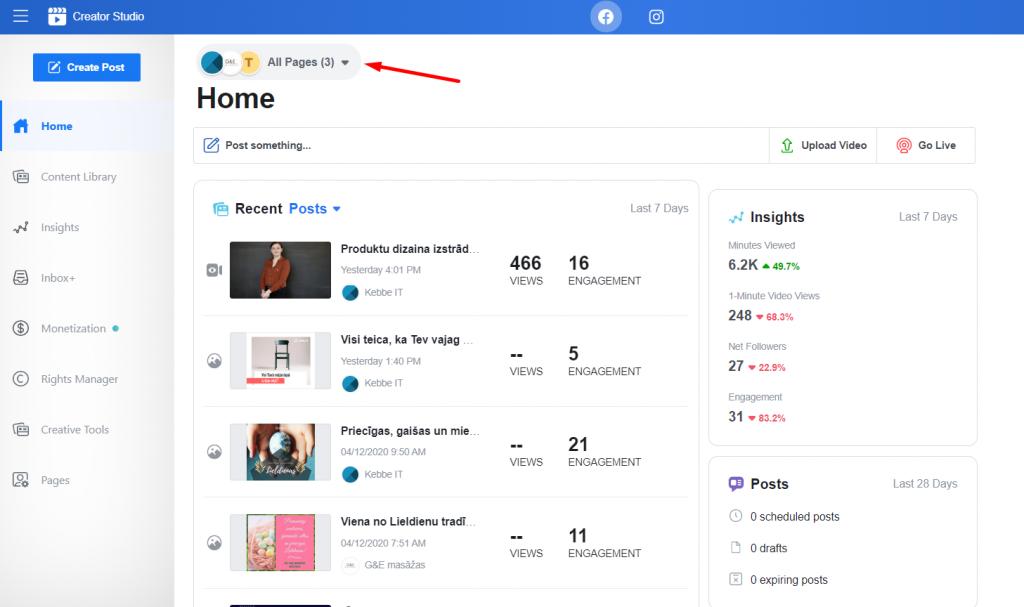 Facebook Ceratur studio ļauj ērti pārvaldīt vairākas biznesa lapas reizē
