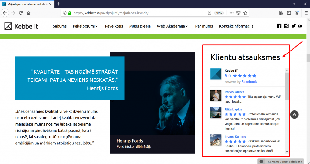 Kebbe IT atsauksmju sadaļas integrācija no Google My Business