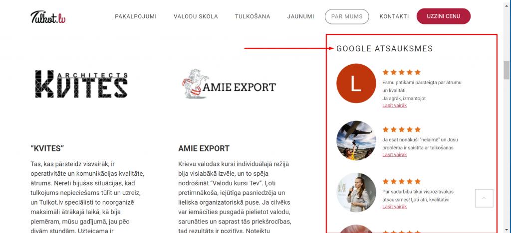 Kebbeit ieviesa tulkotlv mājaslapā atsauksmju integrāciju no Google My Business