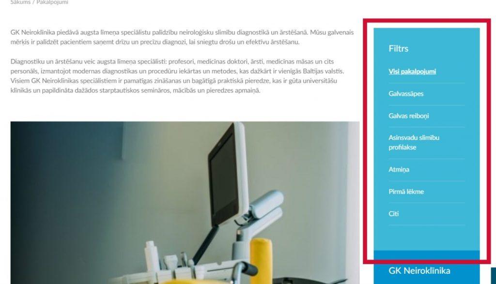 GK Neiroklīnikas mājaslapā ir ieviests simptomātisks pakalpojumu filtrs