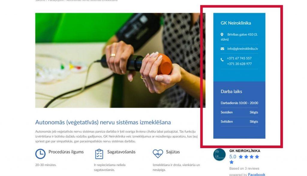 Kontaktinformācijas izvietojums mājaslapā pie atvērta pakalpojuma - GK Neiroklīnikas piemērs