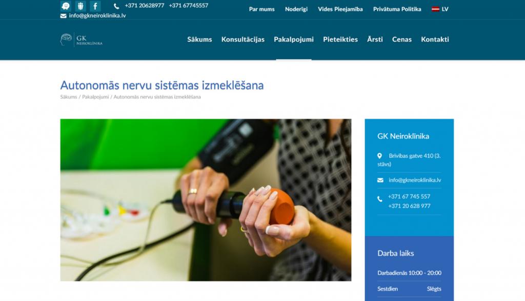 GK Neroklīnikas mājaslapas galvenais attēls atvērta pakalpojuma skatā