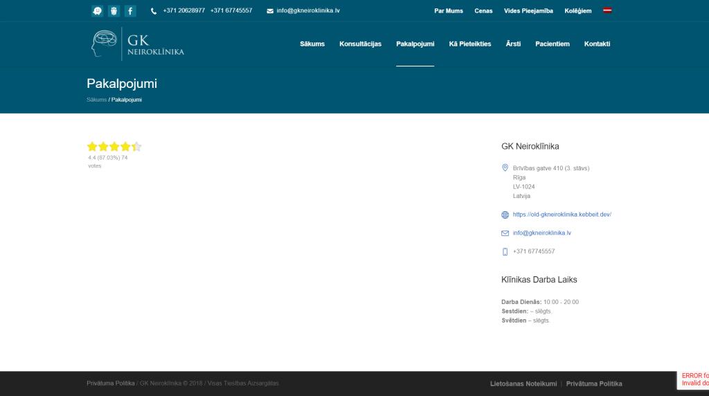 Mājaslapas pakalpojumu režģis pirms izmaiņām