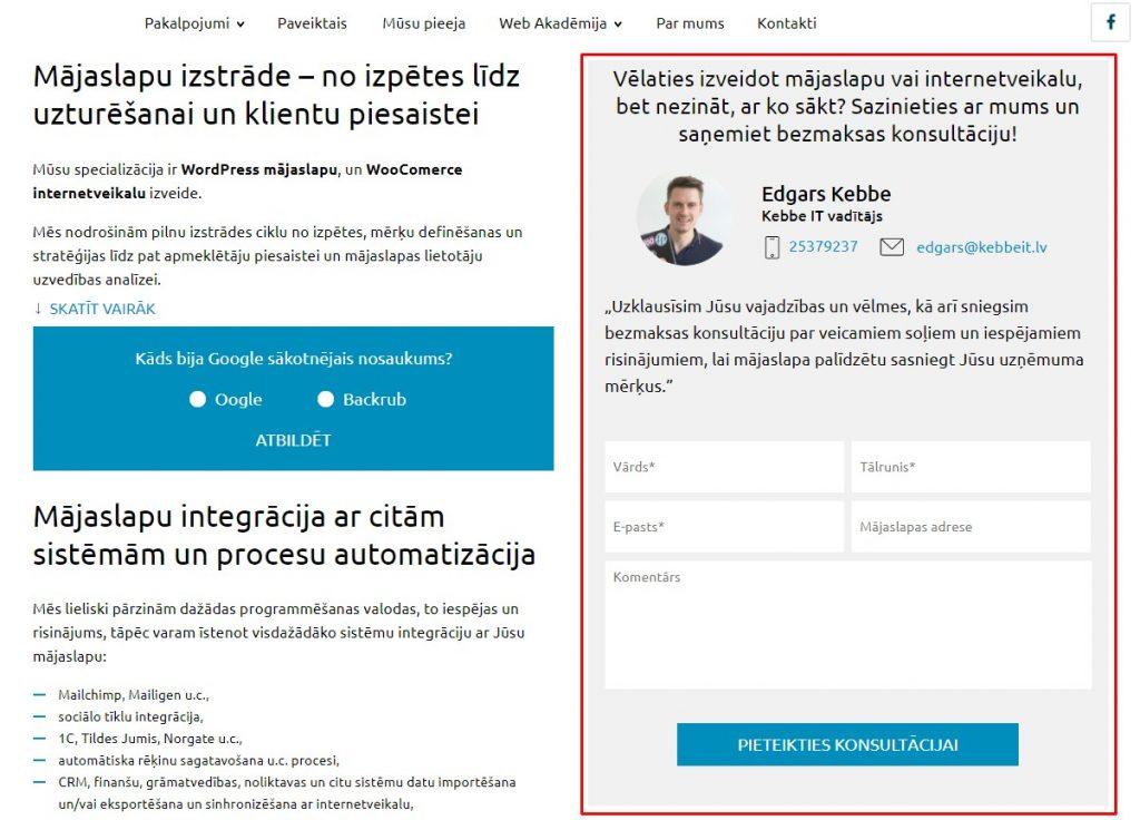 Kontaktforma par bezmaksas konsultāciju mājaslapas izstrādēmājas