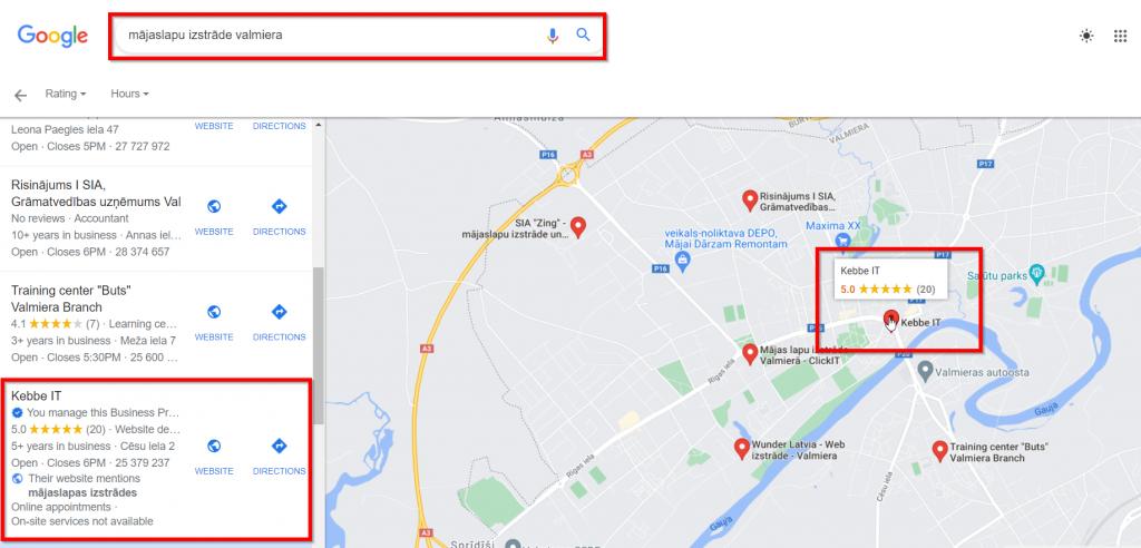 Lokālais SEO - Google My Business lapa
